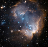 Newly formed stars in the center of a star-forming region in