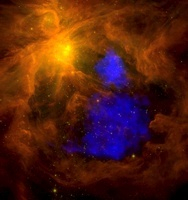 The Orion nebula in the infrared overlaid with XMM-Newton X-