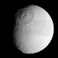 Saturn's moon Tethys.