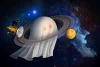 An artist's Halloween illustration of Cassini and Saturn. 11079014904| 写真素材・ストックフォト・画像・イラスト素材|アマナイメージズ