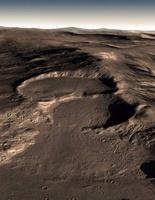 Three craters in the eastern Hellas region of Mars.