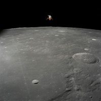 The Apollo 12 lunar module Intrepid is set in a lunar landin