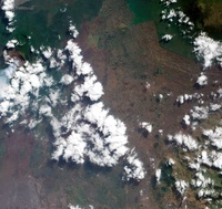 A small plume rises from Nyiragongo Volcano in the Democrati