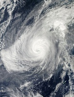 Typhoon Nida south-southwest of Iwo Jima.