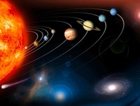 Digitally generated image of our solar system and points bey
