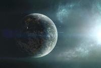 Fleet of colonization ships departing an earth-like planet.