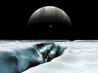 A crescent Jupiter and volcanic satellite, Io, hover over th