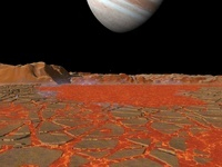 Artist's concept of a view across a pool of lava on the surf