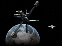 Artist's concept of a lunar cycler approaching Earth.