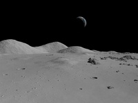 Artist's concept of a view across the surface of the Moon to