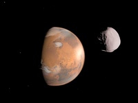 Artist's concept of Mars and it's moon, Dione.