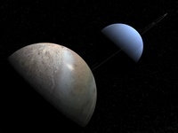 Illustration of the gas giant planet Neptune and its largest