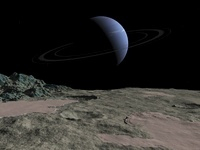 Illustration of the gas giant Neptune as seen from the surfa