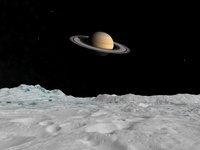 Artist's concept of Saturn as seen from the surface of its m