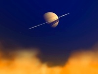 Artist's concept of Saturn amongst the hydrocarbon haze of i
