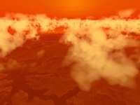Artist's concept of methane clouds over Titan's south pole.