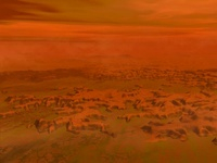 Artist's concept of the surface of Saturn's moon Titan.