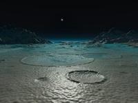 A diminutive sun rises over Triton.