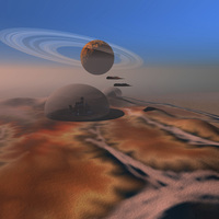 Two aircraft fly over domes on the planet Mars.