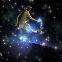 Celesta, spirit creature of the universe, spreads stars thro
