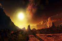 A large sun heats this alien planet which bakes in its glow.