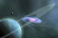 A galaxy swirls near a planet and its moon.
