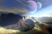 Mountainous landscape on a futuristic world with two beautif