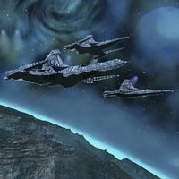 Starships near an alien planet.