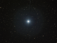 The bright white star Castor in the constellation Gemini.