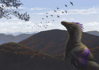 Velociraptor in an autumn landscape.