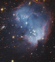 NGC 602, starforming complex in the Small Magellanic Cloud.