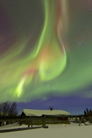 Aurora Borealis and Orion's Belt above a log cabin at Whiteh