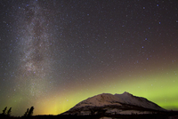 Aurora borealis and Milky Way over Carcross Dessert, Canada.
