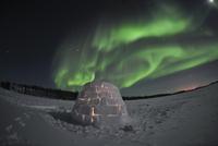 Aurora borealis over an igloo on Walsh Lake, Canada.