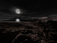 Pluto's moon, Charon, hovers above the frozen landscape of t