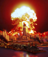 Chicago disintegrates as a nuclear explosion erupts in the m