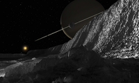 Saturn's moon, Dione, has huge cliffs of solid ice.