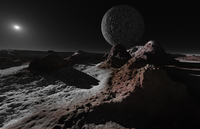 A scene on Pluto with Charon, its giant moon.