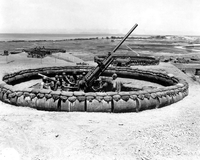 View of a 90mm AAA gun emplacement, Okinawa, Japan.