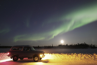 Aurora and old truck, Walsh Lake, Yellowknife, Northwest Ter