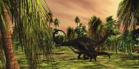 An Apatosaurus mother escorts her hatchling baby. 11079021543| 写真素材・ストックフォト・画像・イラスト素材|アマナイメージズ