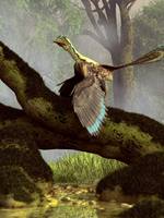 An Archaeopteryx on a log above a stream.