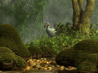 A Dodo bird hides in a dense jungle near a stream.
