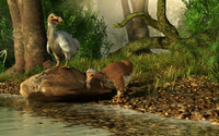 A pair of Dodo birds drinking at a river.