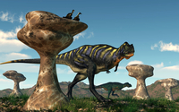A pair of Aucasaurus dinosaurs walk amongst a forest of stone sculptures.