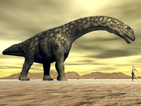Large Argentinosaurus dinosaur face to face with a human.