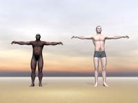 Homo Erectus man next to modern human being.