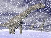 Argentinosaurus dinosaur walking in the snow on a winter day.