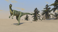 Dilophosaurus hunting for its next meal.