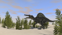 Spinosaurus hunting for its next meal.